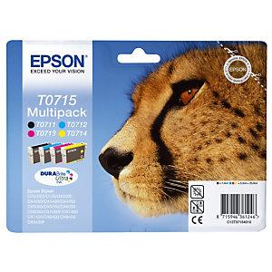 Pack 4 cartridges Epson T0715 zwart en kleur (cyaan + magenta + geel) voor inkjet printers