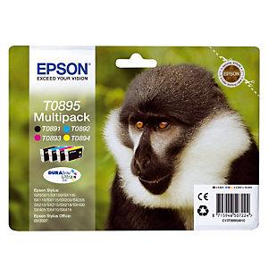Pack 4 cartridges Epson T0895 zwart en kleuren voor inkjet printers