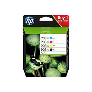 Pack 4 cartridges HP 903XL zwart en kleuren voor inkjet printers