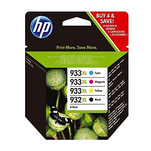 Pack 4 cartridges HP 932 XL / 933 XL zwart en kleuren voor inkjet printers