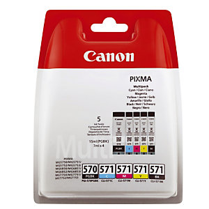 Pack 5 cartouches Canon PGI 570-CLI 571 noir + cyan + magenta + jaune pour imprimantes jet d'encre