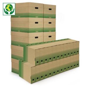 Pack 50 boîtes-archives + 10 caisses multi-usage recyclées RAJA
