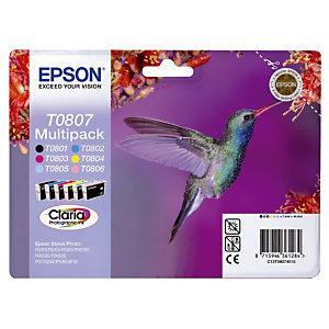 Pack 6 cartouches Epson T0807 noir et couleurs (cyan+magenta+jaune+cyan clair+magenta clair) pour imprimantes jet d'encre