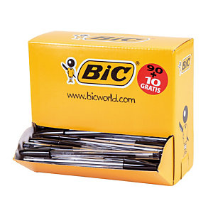 Pack 90 + 10 stylos-bille Bic® Cristal Medium noirs