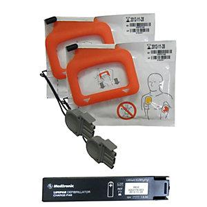 Pack accessoires pour défibrillateur LIFEPAK CR PLUS : 1 batterie + 2 paires électrodes adulte