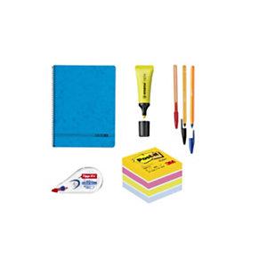 Pack Ahorro Básico bolígrafos, marcador fluorescente, cubo de notas, corrector y cuaderno