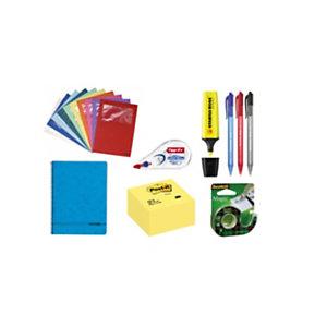 Pack Ahorro Plus bolígrafos, marcador fluorescente, cubo de notas, corrector, cuaderno, dispensador cinta adhesiva y subcarpetas