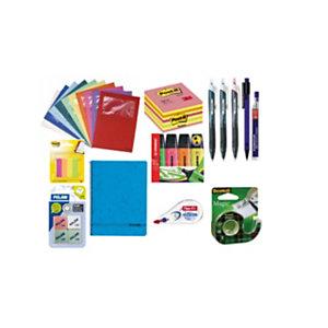 Pack Ahorro Premium bolígrafos, marcadores fluorescentes, cubo de notas, banderitas, corrector, cuaderno, dispensador cinta adhesiva, subcarpetas, portaminas, minas y gomas de borrar