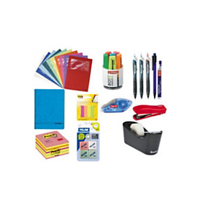 Pack Ahorro Top bolígrafos, cubilete con marcadores fluorescentes, cubo de notas, banderitas, corrector, cuaderno, dispensador con cinta adhesiva, subcarpetas, portaminas, minas, gomas de borrar y grapadora