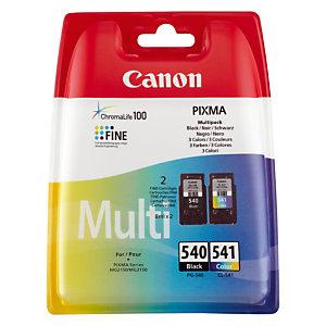 Pack cartouches Canon PG-540 noire + CL-541 couleurs pour imprimantes jet d'encre