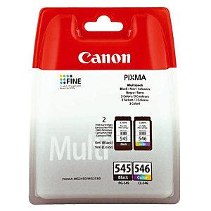 Pack cartouches Canon PG-545 Noire + CL-546 3 Couleurs jet d'encre