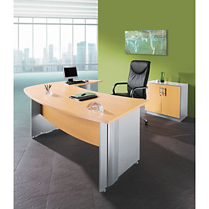 Pack Direction Activity 2 : Bureau L.184 x P.101 cm - Plateau Hêtre - Pieds pleins Aluminium + Bureau retour L.184 x P.50 cm