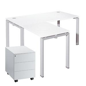 Pack E-Link Direction : Bureau L.200 x P.100 cm + Retour L.100 x P.60 cm Blanc + Caisson mobile 3 tiroirs