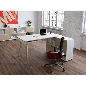 Pack Halden : 1 bureau droit Blanc pieds bois Chêne + 1 meuble de rangement 4 cases Blanc/Chêne L. 160 x P. 160 x H. 81,5 cm
