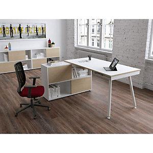 Pack Halden : 1 bureau droit Blanc pieds métal Blanc + 1 meuble de rangement 4 cases Blanc/Chêne L. 160 x P. 160 x H. 81,5 cm