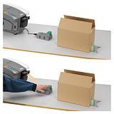 Pack humecteur électronique de bande gommée et son calculateur de longueur