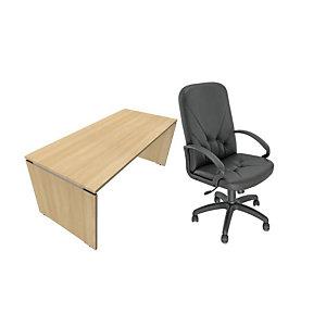Pack Moka Direction : 1 bureau droit Chêne clair, pieds panneaux L.180 x P. 80 x H. 73.5 cm + fauteuil Nino simili cuir Noir