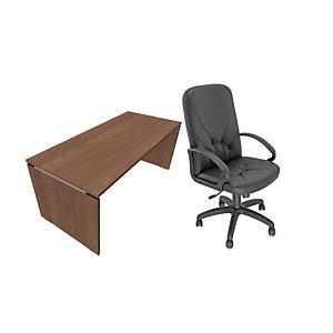 Pack Moka Direction : 1 bureau droit Noyer Ambré pieds panneaux L.180 x P. 80 x H. 73.5 cm + fauteuil Nino simili cuir Noir