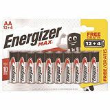 Pack promo 12 piles alcalines Energizer LR 06 - Type AA + 4 offertes##Voordelige packs van alkaline batterijen Energizer  Max LR06-type AA 12 + 4 GRATIS