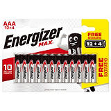 Pack promo 12 piles alcalines Energizer Max LR 03 - type AAA + 4 offertes