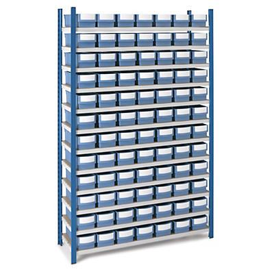 Pack rayonnage avec bacs-tiroir de rangement compartimentables