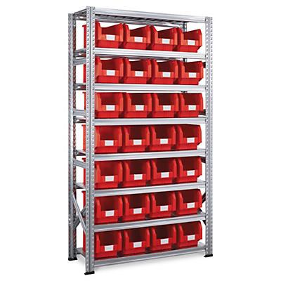 Pack Rayonnage galvanisé + 28 bacs à bec plastique 12,5 l