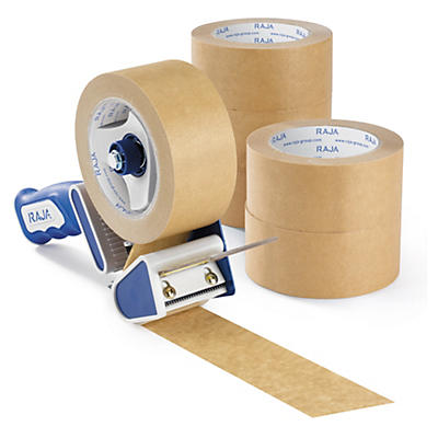 Pack ruban adhésif en papier + dévidoir Raja##Voordeelpak papieren tape + dispenser Raja