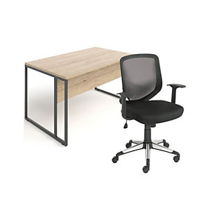Pack Skyline : 1 bureau droit plateau Chêne Nebraska piétement Noir L. 140 x P. 80 cm x H. 74 cm + 1 fauteuil Kontact dossier H. 48 cm Noir