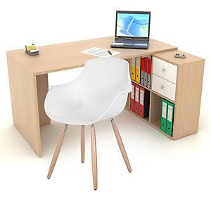 Pack télétravail Cosito : 1 bureau coloris Chêne L. 140 cm + 1 rangement de 6 cases intégré + 1 chaise coque coloris Blanc