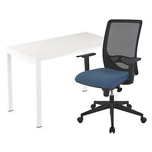 Pack télétravail Easydesk : 1 bureau compact pieds arche métal 114 x 60 cm + 1 fauteuil Swanny maille/tissu Bleu
