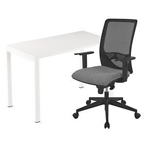 Pack télétravail Easydesk : 1 bureau compact pieds arche métal 114 x 60 cm + 1 fauteuil Swanny maille/tissu Gris