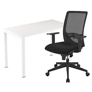 Pack télétravail Easydesk : 1 bureau compact pieds arche métal 114 x 60 cm + 1 fauteuil Swanny maille/tissu Noir