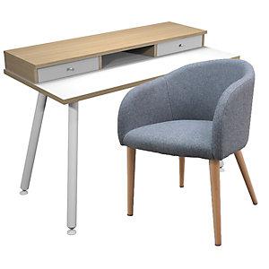 Pack télétravail Elizey : 1 bureau scandinave Elizey pieds bois massif 120 x 60 cm + réhausse - Chêne naturel / Blanc + 1 fauteuil Adria tissu gris, pieds bois