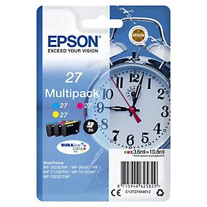 Pack van 3 inktcartridges Epson 27 XL « Wekker » cyaan + magenta + geel voor inkjet printers