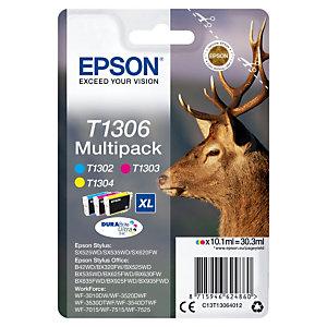 Pack van 3 inktcartridges Epson T1306 kleuren (cyaan + magenta + geel) voor inkjet printers