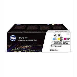 Pack van 3 toners HP 201 X kleuren voor laser printers