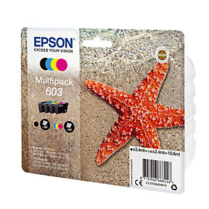 Pack van 4 inktcartridges Epson 603 zwart en kleuren voor inkjet printers