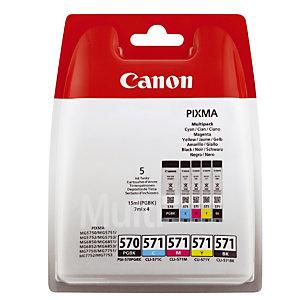 Pack van 5 cartridges Canon PGI 570-CLI 571 zwart + cyaan + magenta + geel voor inkjet printers