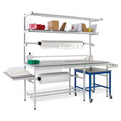 Packing station kit with under bench table