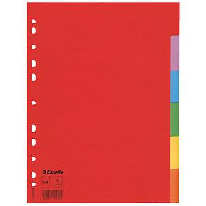 Pakje van 2 tabbladen 6 kleur neutrale tabs Esselte in gerecycleerd karton A4 formaat