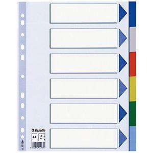 Pakje van 2 tabbladen 6 veelkleurige neutrale versterkingen tabs Esselte in polypropyleen A4 formaat