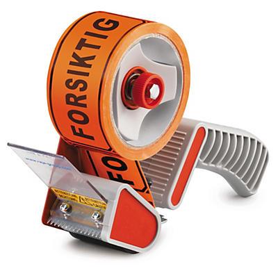 """Pakketilbud: 6 ruller PVC-merketape """"""""Forsiktig"""""""" + dispenser"""
