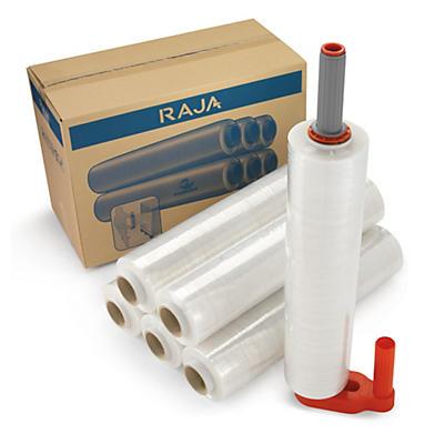 Pakketilbud - 6 ruller transparentstrekkfilm (20 my) og 1 strekkfilmdispenser av plast
