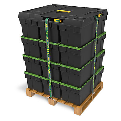 Pallet lids with restraining straps
