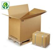 Palletiseerbare kartonnen container in driedubbelgolfkarton