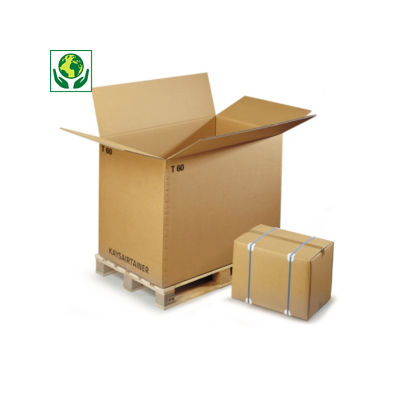 Caisse carton palettisable brune triple cannelure de 117 cm de long##Palletiseerbare kartonnen container in driedubbelgolfkarton