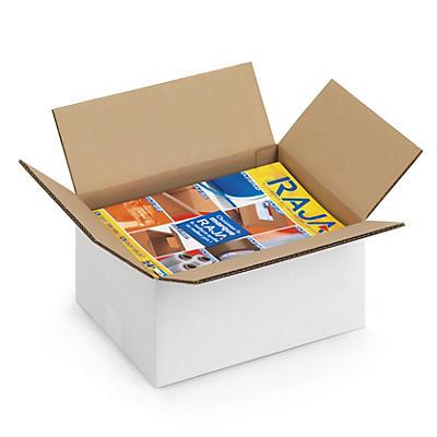 Caisse carton palettisable blanche double cannelure##Palletiseerbare kartonnen doos in wit dubbelgolfkarton