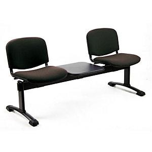 Panca attesa - 2 posti + tavolino - Nero