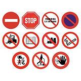 Panel de prohibición redondo