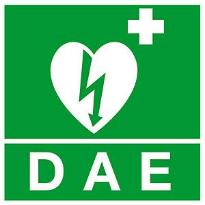 Panneau adhésif souple de signalisation défibrillateur logo 10 x 10 cm